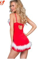 Wholesale Christmas Stripper Costumes - Free Shipping 2014 New Arrival Chrismas Red Sexy Erotic Lingerie Sexy Costumes Women Stripper Clothes Night Sleepwear