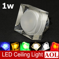 Wholesale 1w Led Square - High Power 1x1W Acrylic crystal LED ceiling light Downlights 6 colors available led recessed light 90-100Lumens AC85-265V led house lighting