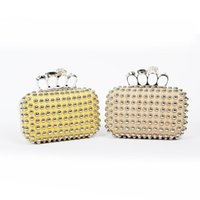 Wholesale Skull Rings Box - high quality cool clutch bag the Knuckle studded leather box clutch for lady women's skull ring day clutch bag mini party bag evening
