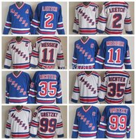 Factory Outlet, New York Rangers Throwback Hockey Jerseys 11 Mark Messier 35 Mike Richter 2 Brian Leetch 99 Wayne Gretzky Vintage V Neck Jer