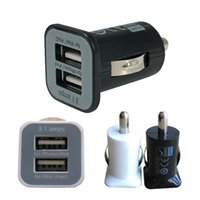 Wholesale Mini Power Usb Chargers - USAMS 3.1A USB Dual Car Charger 5V 3100mah Dual 2 Port mini car Chargers Power Adapter for iPhone 6 5s HTC iPod iTouch Samsung Galaxy S5 S4