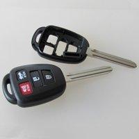 Wholesale Toyota Blank Key Shells - High quality car key blank for toyota 4 button remote key shell FOB key cover 20pcs lot free shipping
