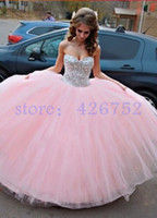 Wholesale Lace Corset Petticoat - Princess Bead Crystal Sweetheart Corset Tulle Pink Quinceanera Dresses Ball Gowns Crystal With Petticoat Wedding Gowns Vestidos De 15 Anos