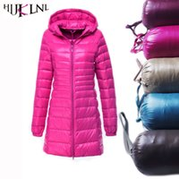 All'ingrosso-HIJKLNL 2017 donne inverno anatra Down Jacket Coat Slim Parka Ladies Coat lungo con cappuccio Plus Size 6 XL Capispalla ultra leggero LJ4236