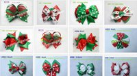 Wholesale Hair Products Girls - Christmas New Product 20pcs Bowknot hair accessories kids bows flower baby girls headband flower Headwear boutique grosgrain hair clip HD32