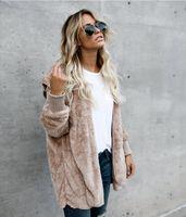 Wholesale Long Solid Color Warm Knit - Women Faux Fur Jacket Long Double Side Wear Clothing Coats Winter Autumn Cardigans Warm Outwear Femine