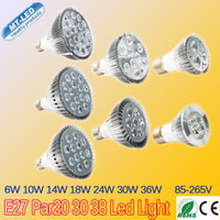 Wholesale Downlight 36w - Retail E27 par20 30 38 Led bulb 6W 10W 14W 18W 24W 30W 36W dimmable 110-240V LED Lighting Spot Lamp light downlight spotlight lights by DHL