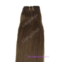 """Wholesale Hair Chestnut - 7A 100g 1pcs 16""""-26"""" 8# Chestnut Brown Brazilian Straight Hair Extensions Indian Malaysian Peruvian Remy Human Hair Weave"""