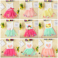 Wholesale Low Priced Skirts - Lowest Price summer girls lace dress with belt baby vest dresses girls ruffle dress girls tutu dress skirt Children's Dresses 2-6T A-0177