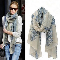 Wholesale Cheap Plaid Scarves - 2015 cheap scarves Hot New Arrival 6 colors High quality Blue and White Porcelain Style Thin Section the Silk Floss Women Scarf Shawl