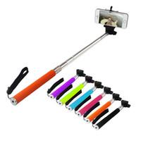 ingrosso monopod per cellulari-Z07-1 monopiede allungabile Selfie Stick palmare monopiede + porta clip per fotocamera IOS Android Phone