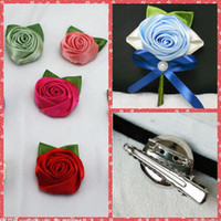 Satin Rose Fleurs Mariage Groomsman Broche Cheap Sale Custom Made Color Disponible Accessoires de mariage Bridegroom Corsage Hot Sale 2015