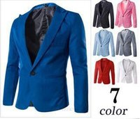 Wholesale Mens Hooded Blazer Jacket - 2015 Casual Mens Suit Hooded One Button Men Red Blazer Outdoors Slim Fit Jacket Man Long Sleeve Suits Plus Size M-XXXL