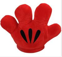 "Wholesale 19 Teddy Bear - Wholesale-1 Pcs 19""50CM Retail MICKEY & Minnie MOUSE Double Faced Big Gloves Soft Plush Cushion Pillow Plush kawaii Toy Xmas Gift"