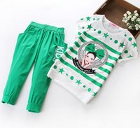Wholesale Korean Style Striped Shirt - Set of clothes for girls sports short sleeve t shirt + 7 points trousers big kids clothing sets korean style big kids leisure suit ab2076