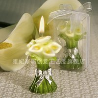 Wholesale Calla Wedding Candles - 2015 New Elegant Wedding Calla Lily flower Candle Favors for Wedding Party Gifts Stuff Supplies with Retail package free shipping