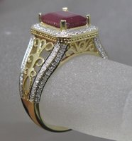 Wholesale Yellow Gold Natural Ruby Ring - Free Shipping Solid 14K Yellow Gold Genuine Natural Blood Ruby Engagement Diamond Ring(R0006)