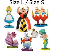 Wholesale Set Alice Wonderland - 2015 New Hot Classic Alice In Wonderland PVC Cake Toppers Baby Gifts 1 Set=6 Pieces Size S L