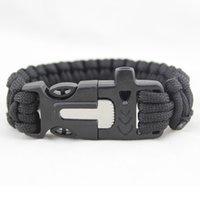 Wholesale Survival Bracelet U Clasp - Survival Bracelets Paracord Parachute Camping Bracelet Stainless Steel U Clasp Escape Life-saving Bracelet Hand Made wristband 2501001
