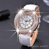 Wholesale Gogoey Quartz - GOGOEY 2016 New Fashion Ladies Leather Crystal Diamond Rhinestone Watches Women Beauty Dress Quartz Wristwatch Hours Reloj Mujer