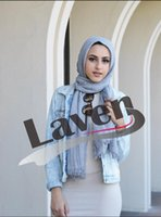 Wholesale Big White Scarf - bubble cotton plain shawls 71Colors Big size Islamic hijab spring wrinkle wrap muslim fringe scarves scarf