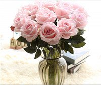 ingrosso fiori veramente artificiali-Single Rose Open Rose Decorative Christmas Wedding Flower Silk Fake Flower Look reale fiore artificiale Sposa Bouquet Odore Rose