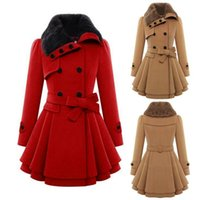 Wholesale Ladies Double Breasted Wool Coat - Winter Women Wool Blends Coat Cultivating Solid Color Long Section Thicken Overcoat Double-Breasted Ladies Woolen Coat With Belt