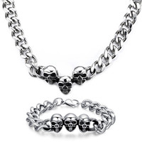 Wholesale Curb Link Charm Bracelets - Rock Style Personality Men's Gift Biker 316L stainless steel Curb Link Chain Punk Skull Charms necklace + bracelet Jewelry Set