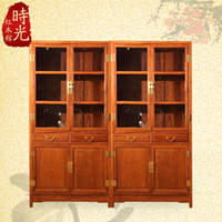 Wholesale Wood Glass Cabinet - Rosewood mahogany furniture, Chinese antique bookcase double door glass display cabinet Wood bookcase lockers locker