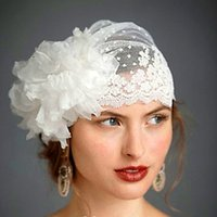 Wholesale Swiss Dot Lace - Hot ! New 2017 Swiss Dot Tulle Veil Hat With Handmade Flower Lace Trimming Vintage Wedding Veils 2015 Bridal Hats Bridal Accessories
