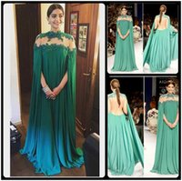 Wholesale Indian Style Evening Dresses - Gorgeous Bright Green Sonam Kapoor Full Sleeves Indian Style High Neck Sheer Back Sexy Evening Dresses Vestido De Festa