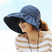 Wholesale Brown Sunbonnet - Wholesale-Folding sunbonnet sun hat anti-uv hat large brim hat beach sun visor hat