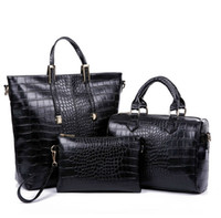 Wholesale black designer bags discount - 2015 new European luxury crocodile shoulder bag designer handbag multiple portable fashion diagonal three piece PU bag Discount