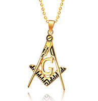 Wholesale Top Popular Necklaces - Popular Top Selling Holiday Gift Men Women Free Mason Pendant - Triangle Freemasonry Gold Stainless Steel Masonic Necklace Chain