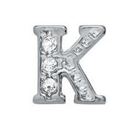 """Wholesale Letter K Pendant - 20pcs lot rhinestone Silver Alphabet Letter """" K """" Charms Fit For Glass Living Floating Locket Jewelry Pendant Gift For Friends"""