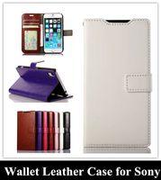 billetera compacta sony z3 al por mayor-Flip Wallet PU Funda de teléfono móvil Funda de crédito Slots Phone Frame para Sony Xperia Z3 mini Compact / Z2 mini Compact / Z3 / Z4 / E3 / E4