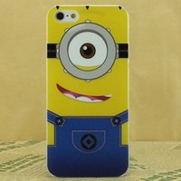 Wholesale Despicable Silicon Iphone - [2015 NEW] cute cartoon model silicon material Despicable Me Yellow Minion Cover for iphone Case for iphone 4 4s 5 5S 5C