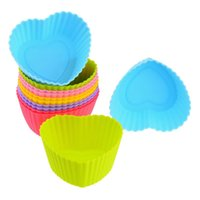 Wholesale Cup Cake Mold Free - Mix Color Silicone Cake Mold Heart Shape Muffin Cupcake Bakeware Mould Cups Free Shipping