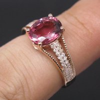 Spedizione gratuita Solid 14K Rose Gold Natural Pink Tourmaline Fidanzamento Diamonds Wedding Ring (R0054)