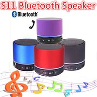 Wholesale Bluetooth S11 - S11 Mini speaker Wireless Bluetooth 4.0 HIFI speakers with Strong bass Mic Stereo LED light Support TF Card For Phones with retail package
