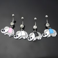 Wholesale Elephant Body Jewelry - European Style Stainless Steel Rhinstones Elephant Belly Button Rings Navel Ring Body Piercing Jewelry 4 Colors for choices