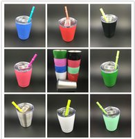 Wholesale kids glasses sale - 2018 HOT SALE Double walled 9oz cup Stainless Steel Stemless Wine glass Stainless Steel sippy cup 9oz kid mug with straw