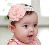 ingrosso banda dei capelli del bambino-Accessori per capelli Per neonato Baby Lace Big Flower Pearl Princess Babies Girl Hair Band Fascia Baby's Head Band capelli Xmas regalo 10pcs