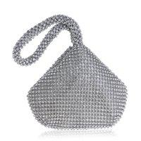 Wholesale Silver Wristlet Purse - 2017 New Fashion Rhinestone Women Evening Bag Wristlet Lady Crystal Diamond Triangle Clutch Bag Shoulder Bag Girl Wrist Handbag Wallet Purse
