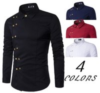 poitrine d'or achat en gros de-Bouton d'or T-shirt Incliné double boutonnage hommes Homme Turn Down Collar Solid Color Affaires Chemises Casual Slim Fit homme Chemise bateau gratuit