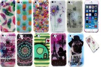Bling Printed Pinapple Henna Dog Feather Cartoon Мягкий чехол для геля TPU для iPhone 5 6 Samsung Galaxy S5 S6 S6 Edge Grand Prime A3 A5 A7 J1
