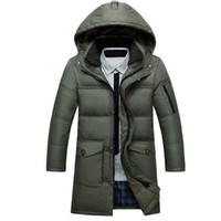 Wholesale White Fur Hooded Mens Jacket - Mens Fur Collar Coat White Duck Down Jacket Men Hooded Super Warm Winter Long Parka Jackets Slim Plus Size 4XL 5XL Manteau Homme