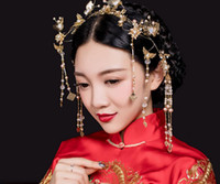 Wholesale Chinese Hair Flowers - The new 2017 Chinese diamond wedding bride headdress costume pearl Tiara Comb Flower Hair Accessories bride alloy hand comb