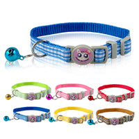 Wholesale Kitten Bell - 1.0cm WideCheckers Prited Nylon Kitten Kitty Cat Collar with Bell Various Colors 17-28cm Ajustable Pet Products