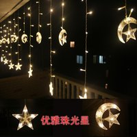 Wholesale Led Sting Lights - Wholesale-4m 220v 8mode 160 Led sting Curtain lights moon and star shape String Christmas Wedding lights New year light ceremony